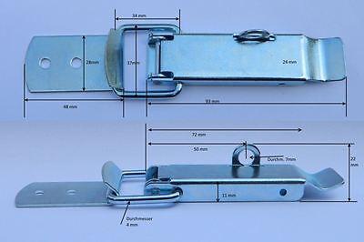 Flacher Spannverschluss mit Schloßöse 93x37x4mm mit  Gegenhaken Kistenverschluss