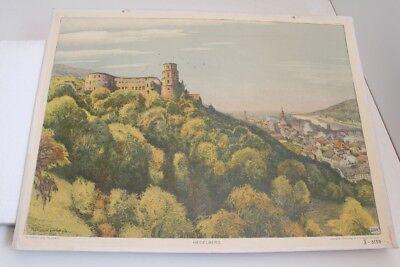 Old Schulwandtafel Wall Chart Heidelberg Müller-wachsmuth Leipzig