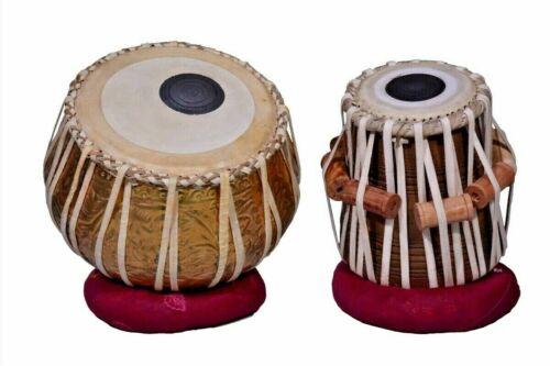 Brass Tabla Set Emboss Design Mango Wood Dayan INDIAN MUSICAL INSTRUMENT Leather
