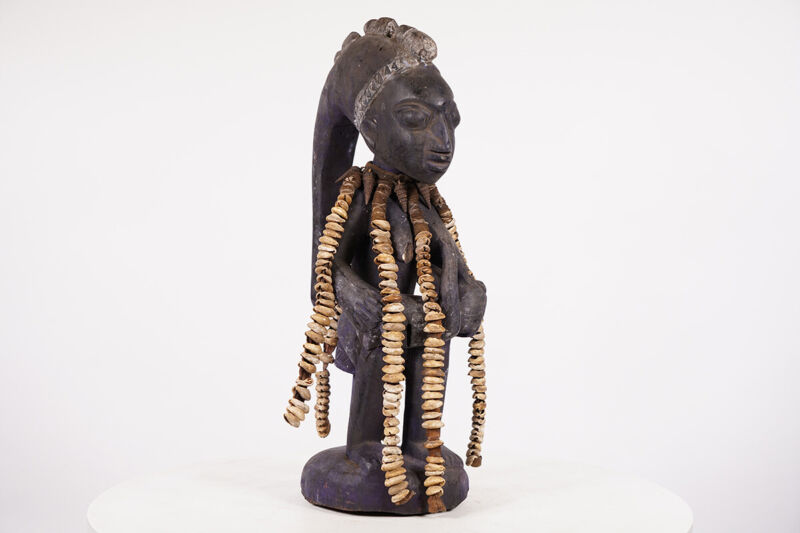 "Yoruba Eshu Statue w/ Cowrie Shells 19"" - Nigeria - African Art"