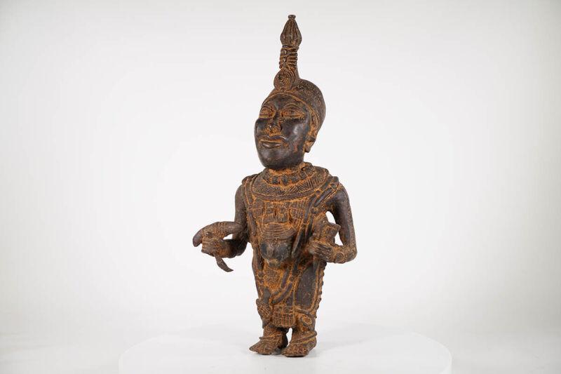 "Unique Benin Bronze Oba Statue 25"" - Nigeria - African Art"