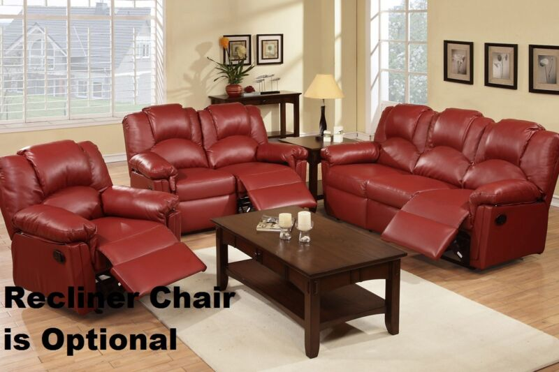 Sofa & Loveseat 2 Pc Motion Sofa Set Burgundy Leather Living Room Furniture