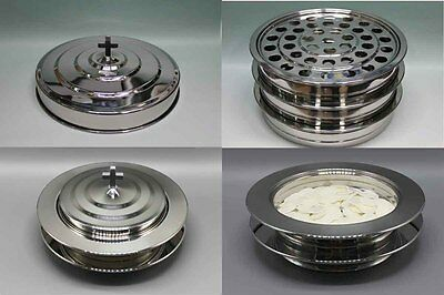 Silvertone---3 Communion Trays with 1 Lid and 2 Bread Trays with 1 Lid