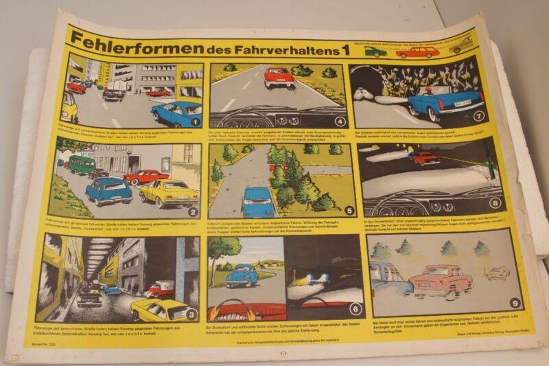 Fahrschultafel Wall Chart Fehlerformen Des Fahrverhaltens 1 Remagen 50er Years