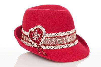 Faustmann Trachtenhut Trachten Damen Hut Dirndlhut Spitze rot pink grün Wiesn