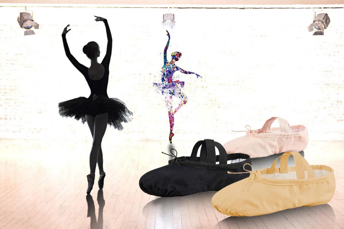 Ballettschuhe Ballettschläppchen Gymnastikschuhe Schläppchen 22 - 44 Tanzschuhe