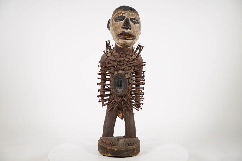 "Bakongo Nail Fetish Figure 25"" - DRC - African Art"