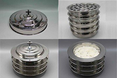 5 Stainless Steel Communion Trays With 1 Lid   4  Bread Trays And 1 Lid