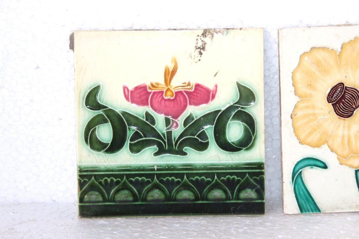 2 pc. old vintage antique rare ceramic tiles home garden decor