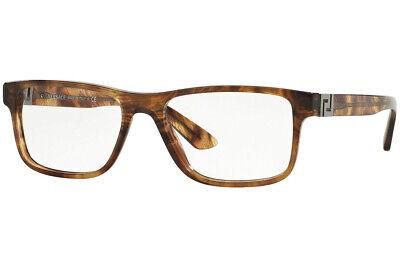 New Versace VE 3211 5143 Striped Havana Eyeglasses RX Frames 53mm Italy