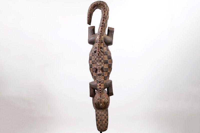 "Gurunsi Crocodile Headcrest Mask 54"" - Burkina Faso - African Art"