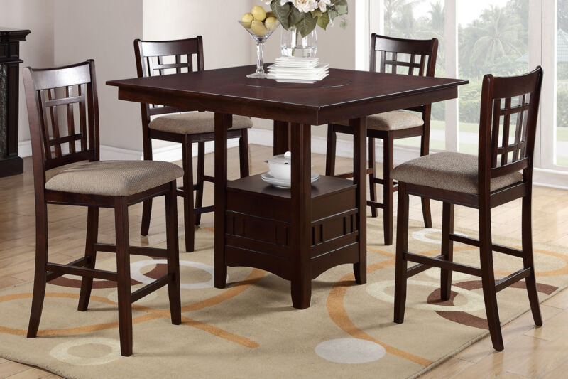 5 Piece Dining Set Counter Height Table Chair Dark Rosy Brown Finish Dining Room