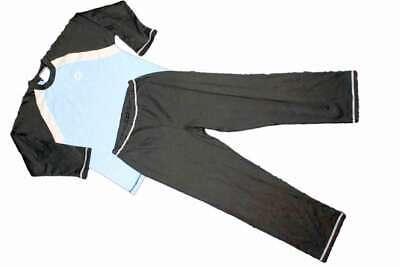 Schlafanzug hellbau/anthrazit langärmlig Nachtwäsche lange Arme Schlafi MEXX 72/