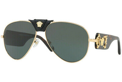 Versace Womens Sunglasses VE2150Q 100271 Gold Havana Frame W/ Green Lens NEW