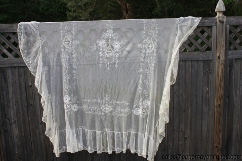 Antique Victorian Bed Cover Bedspread Tambour Lace Tulle Netting Floral Ecru 78""