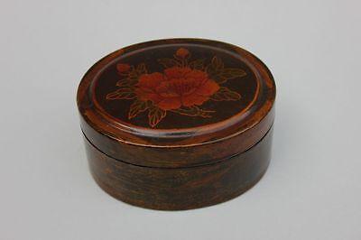 Schöne alte ovale Lackdose mit Blumendekor