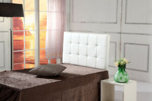 Deluxe PU Leather White Single Bed Headboard