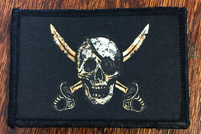CALICO JACK Morale Patch Military Tactical Army Flag USA Hook Badge Pirate -