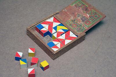 baukasten Holz Würfel Mosaik Dachbodenfund
