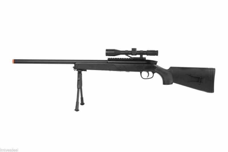415 FPS Bolt Action Spring Airsoft Sniper Rifle METAL 6MM BBs w/ BiPod & Scope