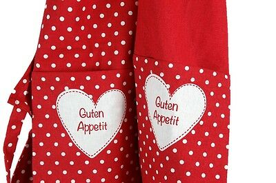 2 x Kochschürze Guten Appetit in Rot mit Punkten Neckholder Schürze Baumwolle