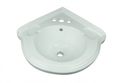 "Corner Obstruction Mount Small Bathroom Sink White Ceramic Vitreous China ""Portsmouth"""