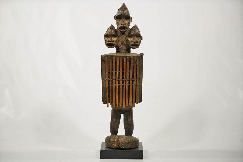 "3-Headed Bakongo Figural Instrument 27.5"" - DRC - African Art"