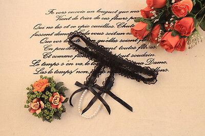 Black Lace Pearl Crotch Panties - L1216A