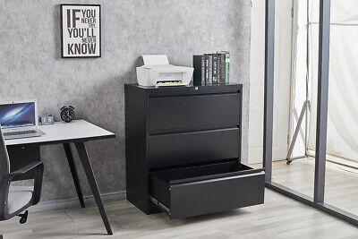 3 Drawers Steel Lateral File Cabinet Office Folding Storage Black File Cabinent
