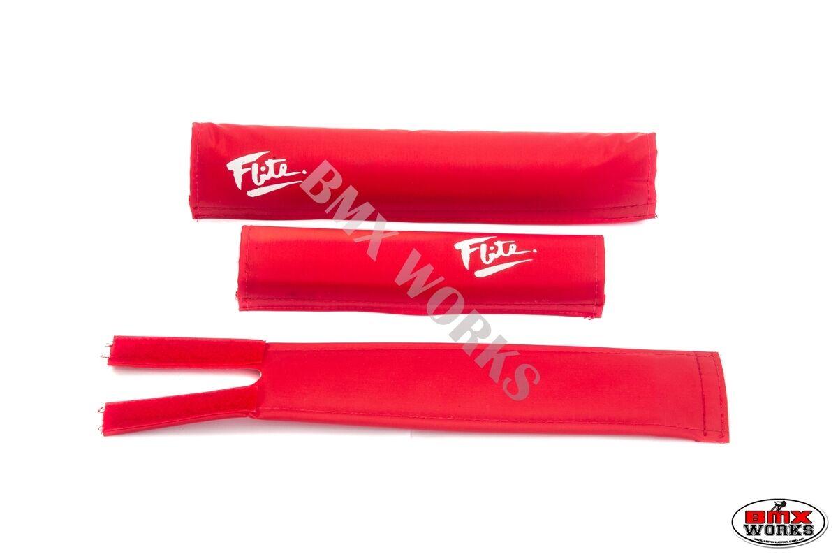 80/'s Logo Red /& Black Old School BMX Flite BMX Pad Set