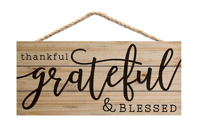 Thankful Grateful Blessed (Thankful Grateful Blessed 10 x 4.5 Inch Pine Wood Decorative Hanging)