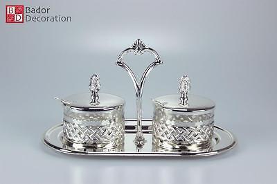 Vorratsgläser Vorratsdosen Silberset Behälter mit Kleinen Löffeln Silber 29x15