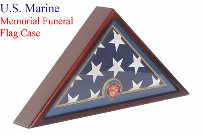 USMC Marine Corp Flag Display Case Box, 5x9 Burial - Funeral -Veteran Flag Case](Flag Display Box)