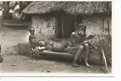 Leopoldville Africa M'Bouaka Family At Rest Continental Real Photo Postcard 50s