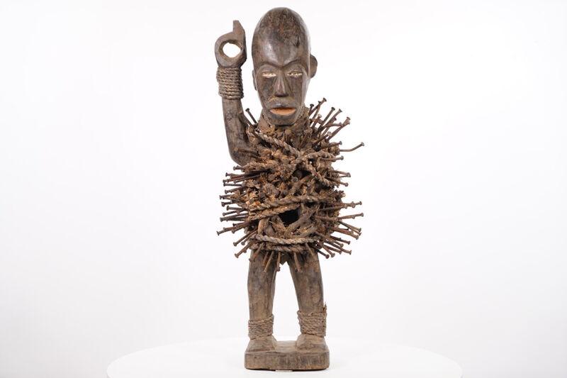 """Bakongo Nkisi Nkondi Figure 24"""" - DR Congo - African Art"""
