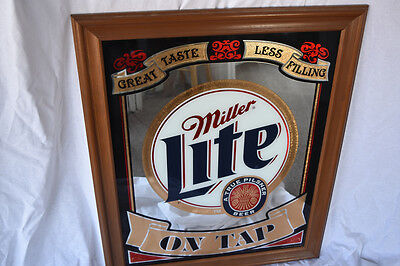 Vintage Miller Lite Beer Mirror -RARE-Bar Mirror-Vintage Beer Mirror