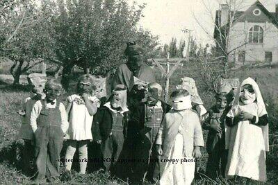 Vintage Creepy Children Halloween PHOTO Crazy Costume Freak Scary Kids