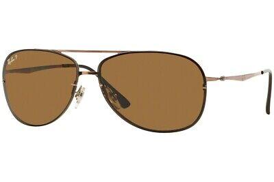 Ray-Ban RB8052 15883 LightRay Rimless Aviator Sunglasses Brown Polarized (Ray Ban Display)