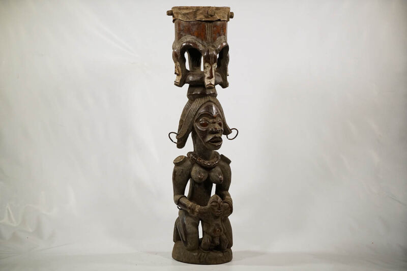 """Fang Style Hand Carved African Drum 42"""" 
