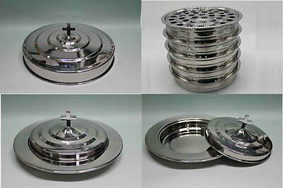 - Silvertone--5 Stainless Steel communion trays with 1 lid and 3 bread tray set