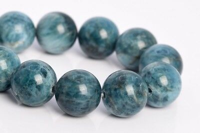 - 12MM Genuine Natural Green Blue Apatite Beads Madagascar A Round Loose Bead 7.5