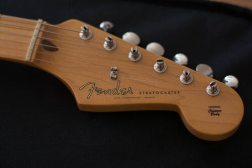 50s Strat Style Waterslide Headstock Decal - Spaghetti Logo (Gold, 2 pcs.)
