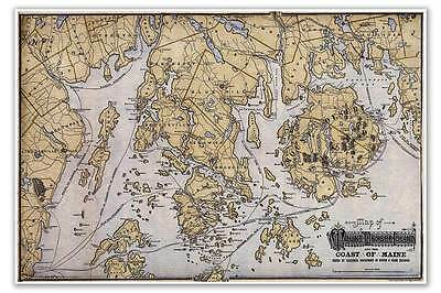 Big Mount Desert Island   Atlantic Coastal Maine Usa Map Chart Circa 1900 24X36