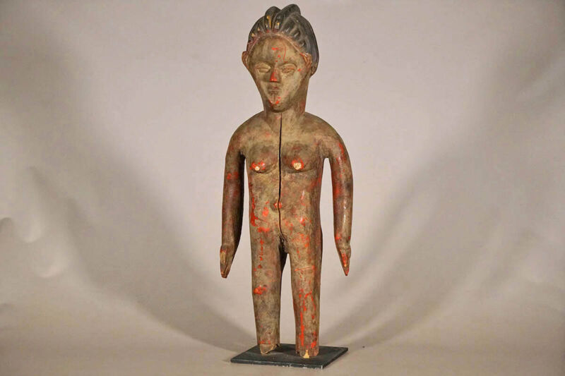 "Unusual Bassa Female Statue 26"" - Liberia - African Art"