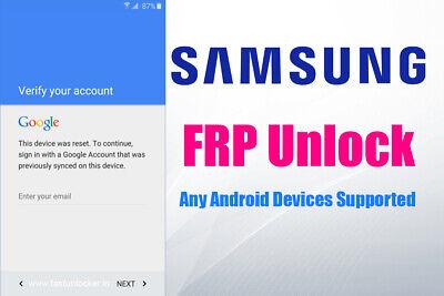Samsung FRP Lock Google Account Removal/Reset All Models J2 A20 A205u A50 A6 S7