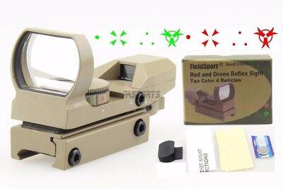 Field Sport Reflex Red Green Dot Sight W 4 Reticles Metal Scope Tan