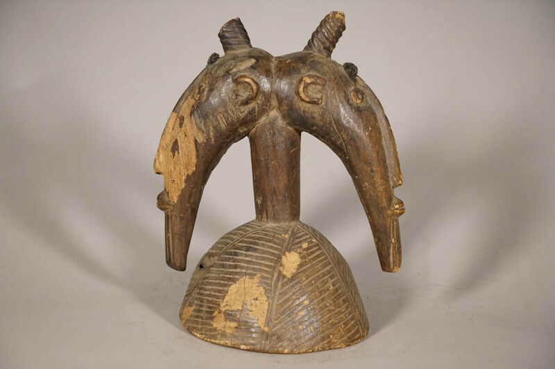 "Weathered Bamana Janus Headdress 13.5"" - Mali - African Art"
