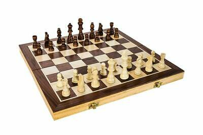 "Wooden Chess Game Set Large 15"" Wood Board Folding Storage Box Hand Carved Piece"