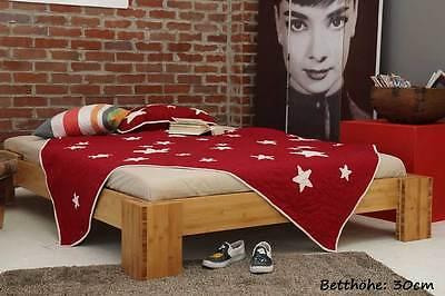 BURMA Bambusbett ohne Rückenlehne 160x220cm, 30cm oder 40cm Bett Höhe, NEU! ()