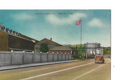 WEIRTON STEEL COMPANY, WEIRTON, WEST VIRGINIA 1940'S LINEN POST CARD